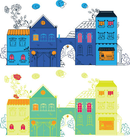 cute house: Fantasy different town illustration with roses for design Illustration