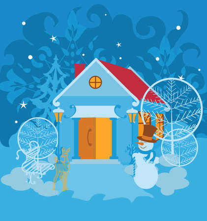 Santa House on winter landscape with snowman Vector