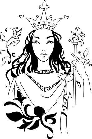 cetro: Ilustraci�n vectorial de la reina rom�ntica en el ornamento floral