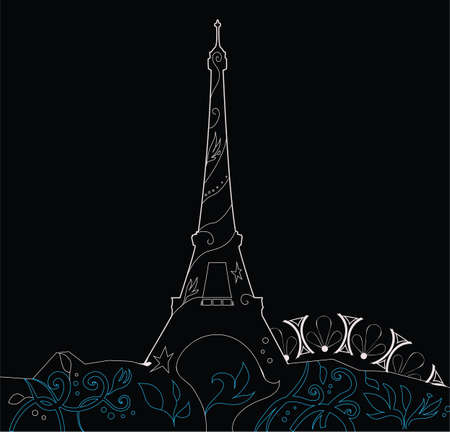 nice france: Ornate Eiffel Tower Silhouette graphic vector illustration Illustration