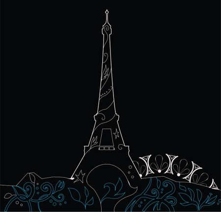 Ornate Eiffelturm Silhouette Grafik Vektor-Illustration Standard-Bild - 15027454