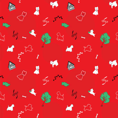 wag: Dogs seamless pattern with houses and trees