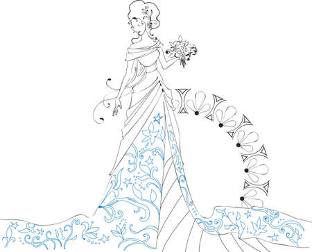 Ornate Bride  Silhouette hand drawing with bouquet Vector