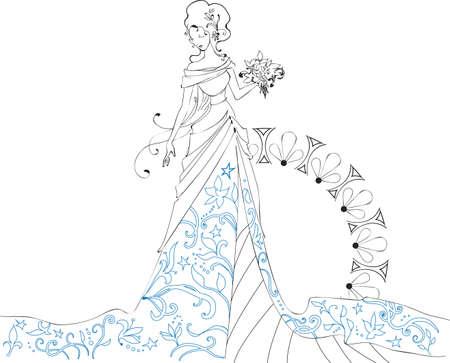 Ornate Bride Silhouette Handzeichnung mit Blumenstrauß Standard-Bild - 15174575