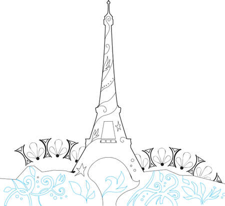 Ornate Eiffel Tower Silhouette graphic illustration Stock Vector - 15174574