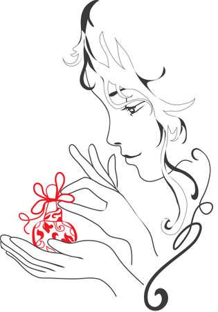fragrance: Grafisch silhouet meisje houdt parfum Sierlijk en sierlijke