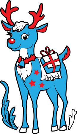 rudolf: Xmas celebration reindeer Rudolf vector illustration for your design