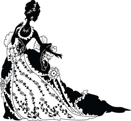 Graphic silhouette of a rococo woman  Fashion luxury Illustration