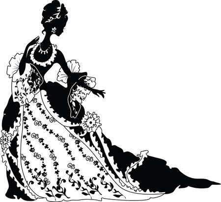 silueta hoja: Silueta gr�fica de una mujer de moda de lujo rococ� Vectores
