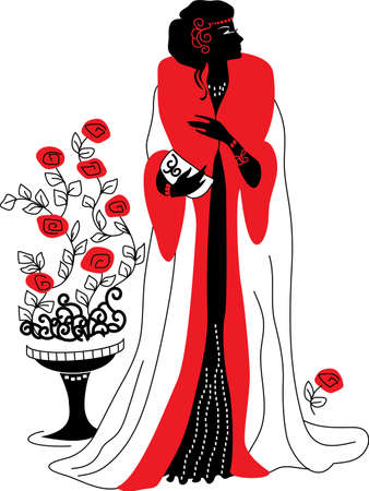 rose: Graphic silhouette of a art deco woman  Fashion luxury
