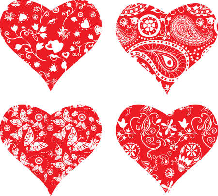ornate heart: Four heart ornate silhouettes for your design