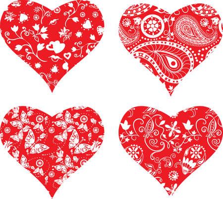 Vier Herzen verzierten Silhouetten für Ihr Design Standard-Bild - 16593929