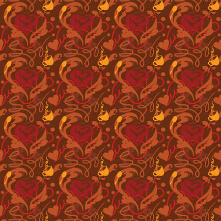 heart tone: Seamless pattern Me encanta ilustraci�n caf�