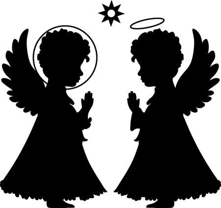 Cute angels silhouettes set catholic, orthodox set with star Vector
