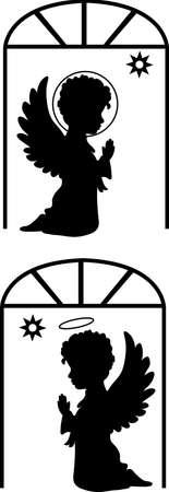 angeles bebe: Siluetas lindos �ngeles establecer cat�lica, ortodoxa conjunto con la estrella Vectores