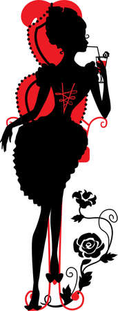 Silhouette of a Young female drinking a cocktail with floral background Vector
