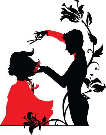 peluqueria: Barber y una niña de ilustración vectorial