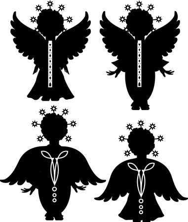 Cute angels silhouettes set set with stars Stock Vector - 16823087