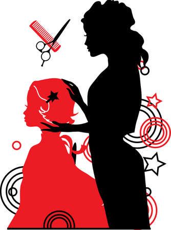scissors and comb: Barber and a girl vector illustration