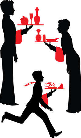 Silhouette Waiter with the tray vector illustartion Vector