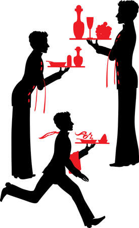 alcohol server: Silhouette Waiter with the tray vector illustartion