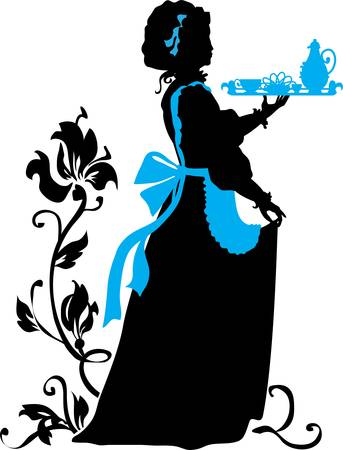 lilia: Housemaid silhouette with floral background Illustration