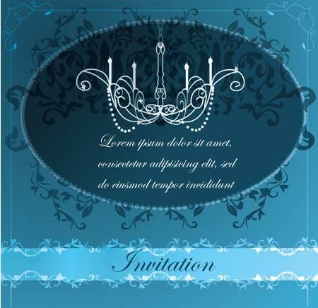 restaurant interior design: Invitation with chandelier background  Illustration