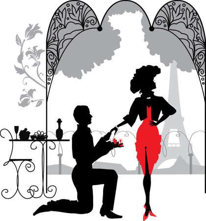 levantandose: Levantarse en la rodilla de un hombre propone a una mujer para casarse con la propuesta de matrimonio Vectores