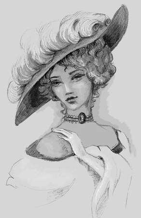 Sketch of woman retro Handzeichnung Standard-Bild - 17039913