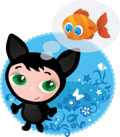 Cute funny kitten with fish vector illustration Stock Vector - 17215797