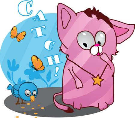 Cute funny kitten with bird illustration