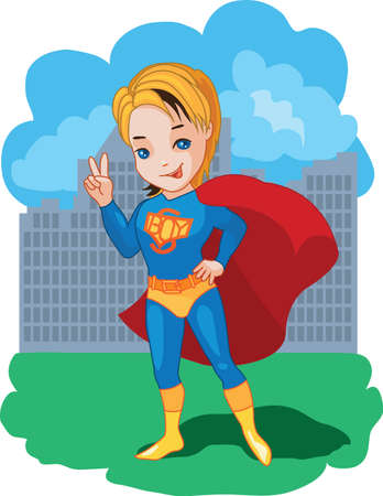 Super Boy with victory symbol illustration Vector