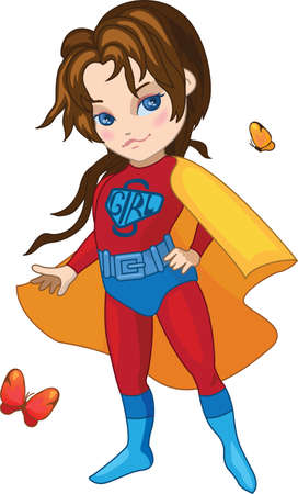 Super Girl with butterflies illustration Vector