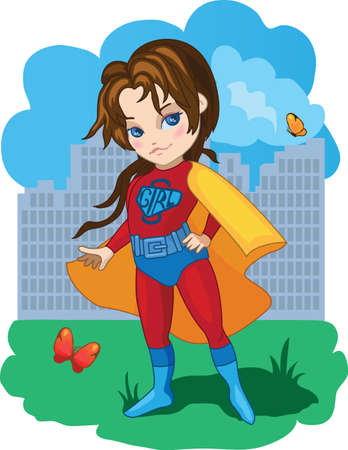 adolescent: Super Girl with butterflies illustration