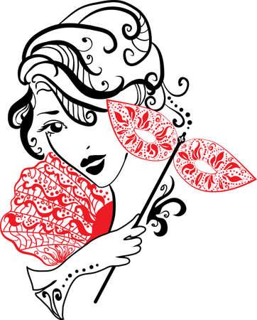 Frau Silhouette mit Maske mit Blumen schwarz und weiß Standard-Bild - 17441460