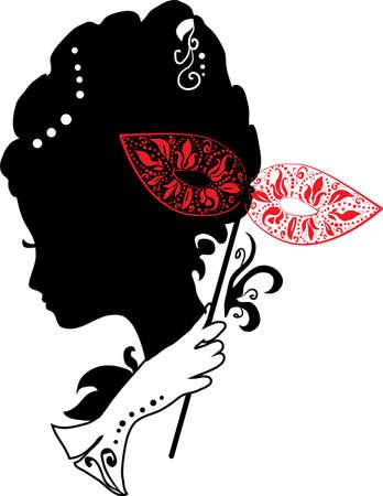 Frau Silhouette mit Maske mit Blumen schwarz und weiß Standard-Bild - 17441459