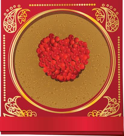 caviar: Carte russe de carnaval avec cr�pes et de caviar de saumon rouge