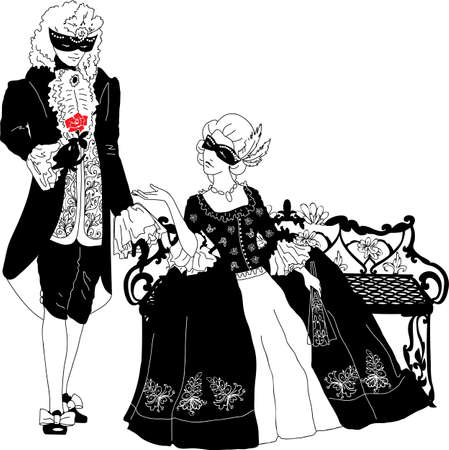 Man and woman silhouettes at the carnival Vector