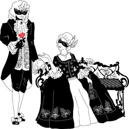 Mann und Frau Silhouetten auf dem Jahrmarkt Standard-Bild - 17511225