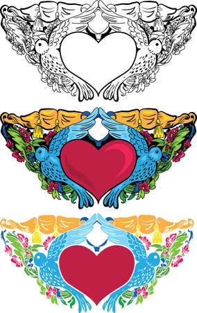 Valentine card decor  Heart with pigeons on floral background Vector
