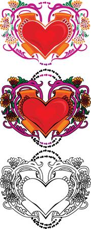 heart with wings: Valentine card decor  Heart with flowers on floral background Illustration