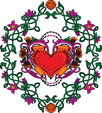 Valentine card decor  Heart with flowers on floral background Vector