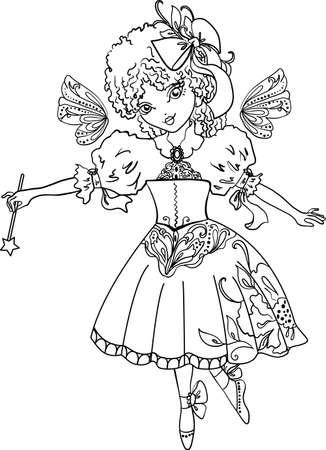 outline drawing: Fata disegno contorno cartone animato isolato su sfondo bianco