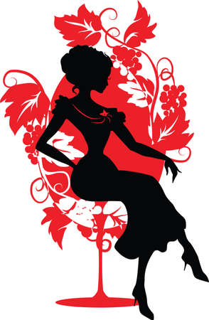 Silhouette of woman sitting on a chair  Isabelle series Vector