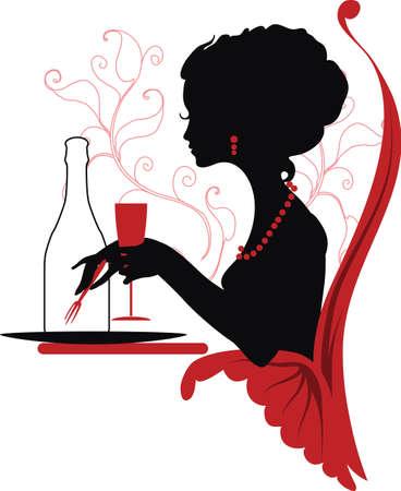 woman eat: Silueta de la mujer que se relaja en el restaurante Isabelle serie Vectores