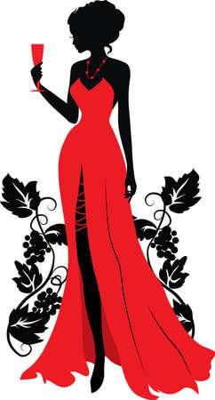 visage femme profil: Silhouette de femme avec verre de vin Isabelle s�rie Illustration