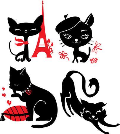 silueta de gato negro: Juego de siluetas de gatos Negro y rojo