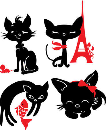 Set of cats silhouettes  Black and red Vector