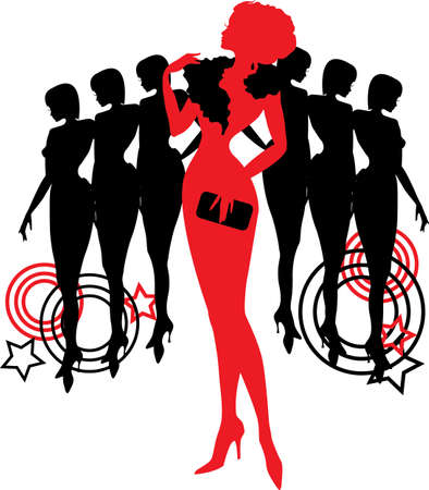 necklet: Women group graphic silhouettes  Different person in red