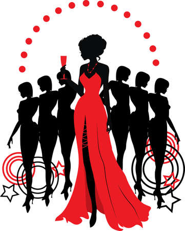 girl in red dress: Women group graphic silhouettes  Different person in red